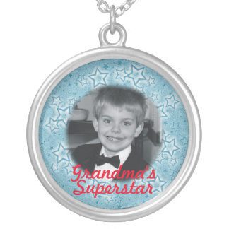 Personalized White And Blue Super Stars Silver Plated Necklace