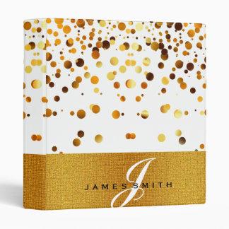 Personalized White and Gold Faux Confetti Glitter Binder