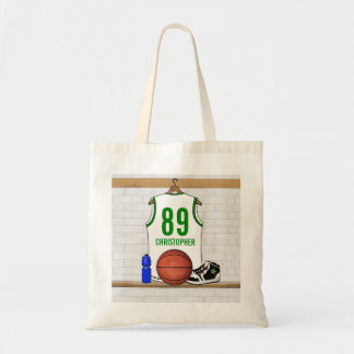 Personalized White and Green Basketball Jersey Tote Bags