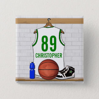 Personalized White and Green Basketball Jersey Button