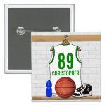 Personalized White and Green Basketball Jersey Pinback Button