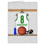 Personalized White and Green Basketball Jersey Greeting Card