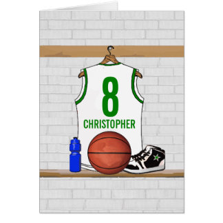 Personalized White and Green Basketball Jersey Card