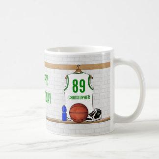 Personalized White and Green Basketball Jersey Coffee Mug