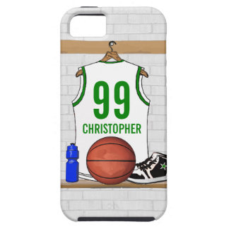 Personalized White and Green Basketball Jersey iPhone SE/5/5s Case