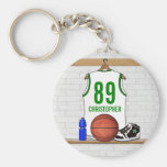 Personalized White and Green Basketball Jersey Keychain