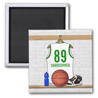 Personalized White and Green Basketball Jersey Magnets