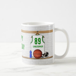 Personalized White and Green Basketball Jersey Classic White Coffee Mug