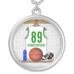 Personalized White and Green Basketball Jersey Round Pendant Necklace