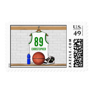 Personalized White and Green Basketball Jersey Postage Stamps