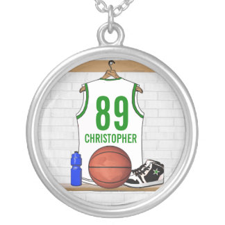 Personalized White and Green Basketball Jersey Silver Plated Necklace