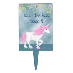 Personalized White and Pink Unicorn Happy Birthday Cake Topper