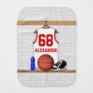 Personalized White and Red Basketball Jersey Baby Burp Cloth