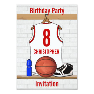 Personalized White and Red Basketball Jersey Card