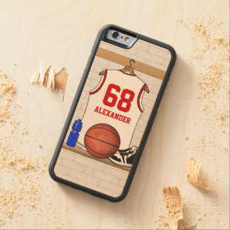 Personalized White and Red Basketball Jersey Carved Maple iPhone 6 Bumper Case