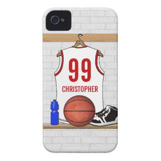 Personalized White and Red Basketball Jersey iPhone 4 Covers