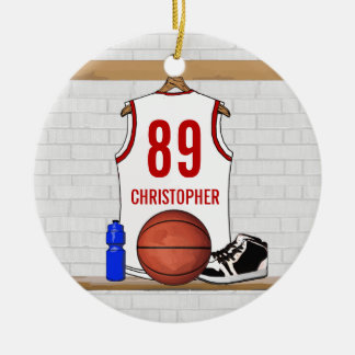 Personalized White and Red Basketball Jersey Ceramic Ornament