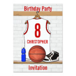 Personalized White and Red Basketball Jersey 5x7 Paper Invitation Card