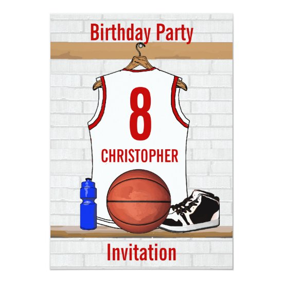 Personalized White and Red Basketball Jersey Invitation