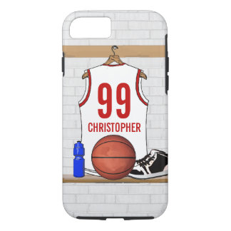 Personalized White and Red Basketball Jersey iPhone 7 Case