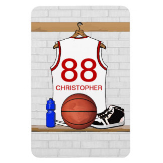 Personalized White and Red Basketball Jersey Magnet