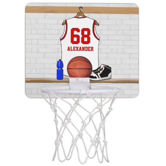 Personalized White and Red Basketball Jersey Mini Basketball Hoop