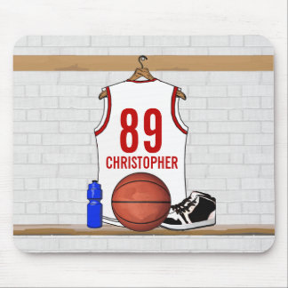 Personalized White and Red Basketball Jersey Mouse Pad