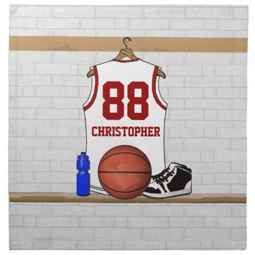Personalized White and Red Basketball Jersey Cloth Napkin