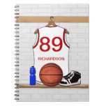 Personalized White and Red Basketball Jersey Spiral Note Books