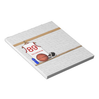 Personalized White and Red Basketball Jersey Notepad