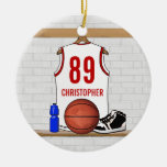 Personalized White and Red Basketball Jersey Double-Sided Ceramic Round Christmas Ornament