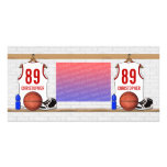 Personalized White and Red Basketball Jersey Photo Card