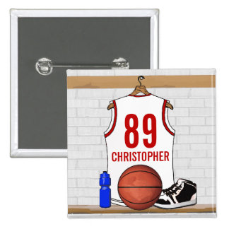 Personalized White and Red Basketball Jersey Pinback Button