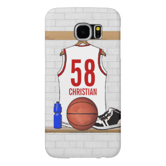 Personalized White and Red Basketball Jersey Samsung Galaxy S6 Case