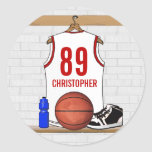 Personalized White and Red Basketball Jersey Round Stickers