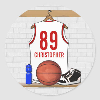Personalized White and Red Basketball Jersey Classic Round Sticker