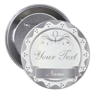 Personalized White and Silver Wedding Party Pinback Button