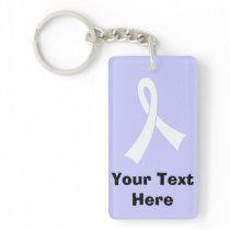 Personalized White Awareness Ribbon Keychain