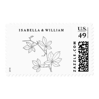 personalized white & black Floral Leaf Swirl Postage