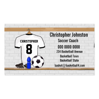 Personalized White | Black Football Soccer Jersey Business Card Templates