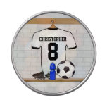Personalized White Black Football Soccer Jersey Candy Tin