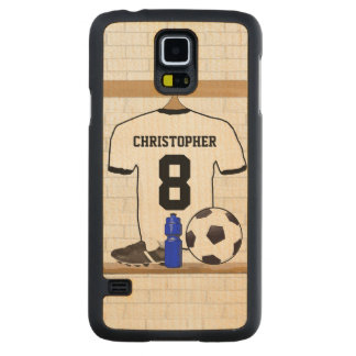 Personalized White Black Football Soccer Jersey Carved Maple Galaxy S5 Case
