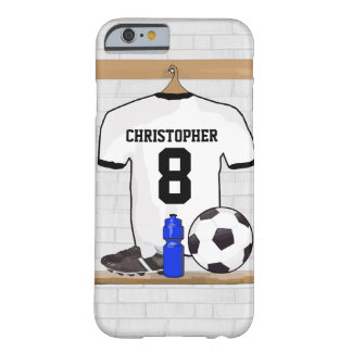 Personalized White Black Football Soccer Jersey Barely There iPhone 6 Case