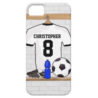 Personalized White Black Football Soccer Jersey iPhone 5 Case