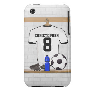 Personalized White Black Football Soccer Jersey iPhone 3 Case-Mate Cases