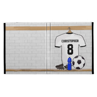Personalized White | Black Football Soccer Jersey iPad Folio Cover