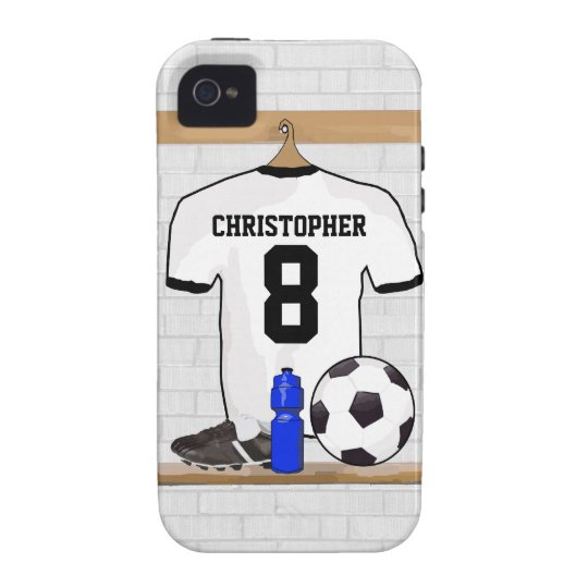 Personalized White Black Football Soccer Jersey Case-Mate iPhone 4 Cover