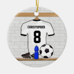 Personalized White Black Football Soccer Jersey Ceramic Ornament