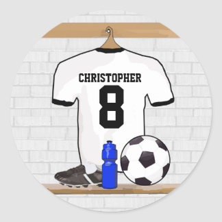 Personalized White Black Football Soccer Jersey Classic Round Sticker