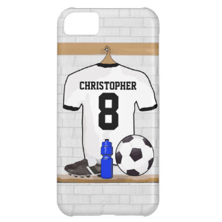Personalized White Black Football Soccer Jersey Cover For iPhone 5C